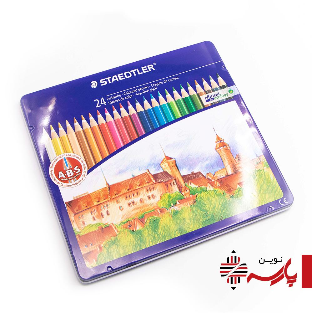 مداد رنگی 24 رنگ جعبه فلز استدلر