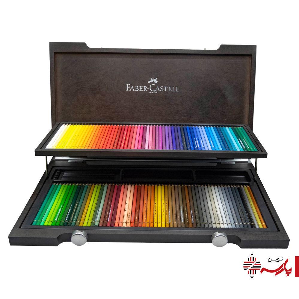 مداد رنگی پلی کروم 120 رنگ جعبه چوبی 2 طبقه فابرکاستل