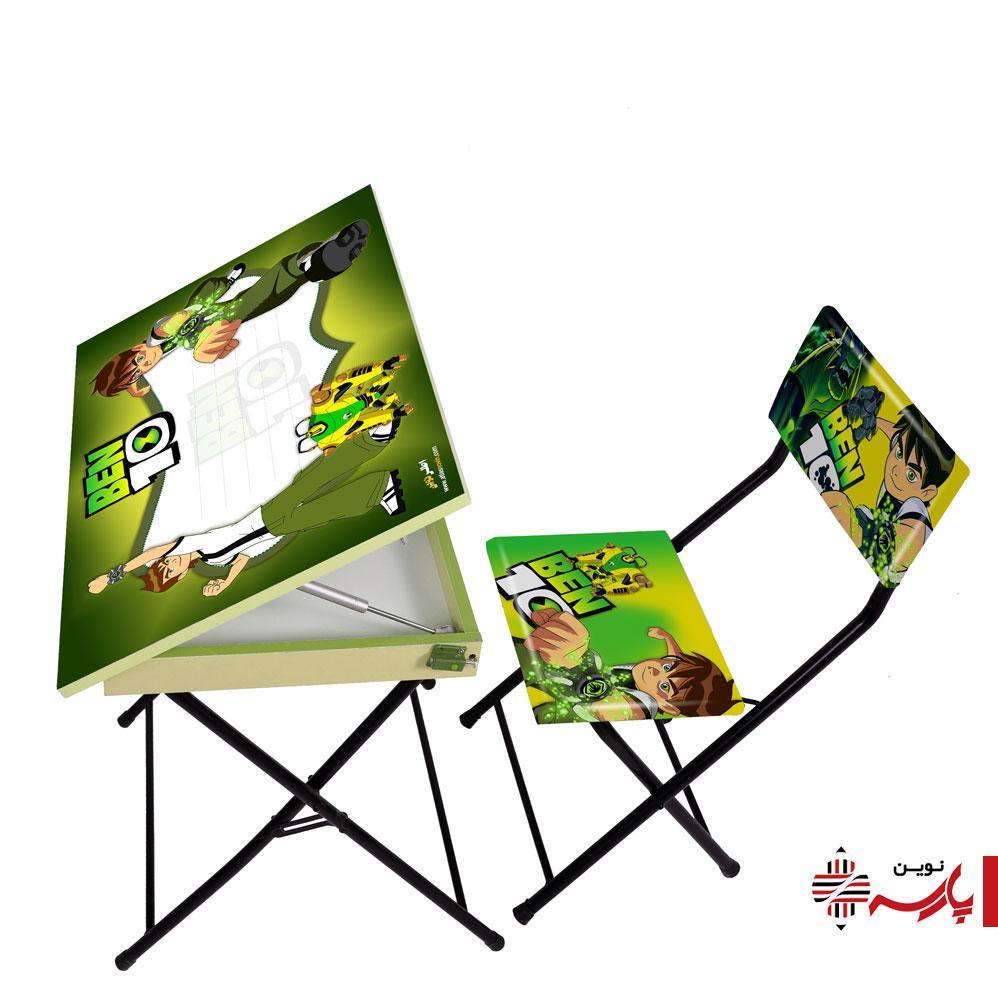 میز تحریر باکس دار و صندلی تاشو فانتزی اطلس [طرح:طرح بن تن]