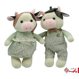 عروسک پولیشی گاو دختر و پسر لباس راه راه
