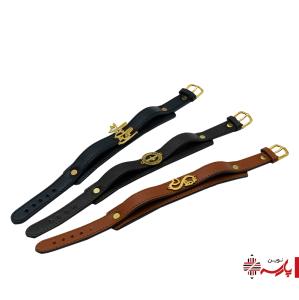 دستبند چرم دوبل طبیعی پلاک دار بانوچی
