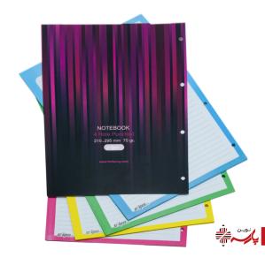 کاغذ کلاسوری 4 سوراخ رنگی 80 برگ کد 0490 کلیپس